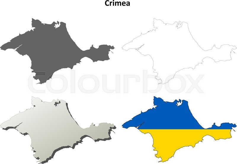 Crimea blank outline map set - Ukrainian version | Stock Vector ...