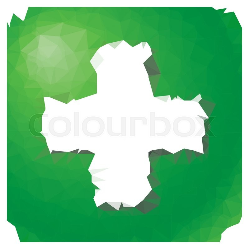 Low Poly Green Square Button With White Plus Symbol Stock Vector