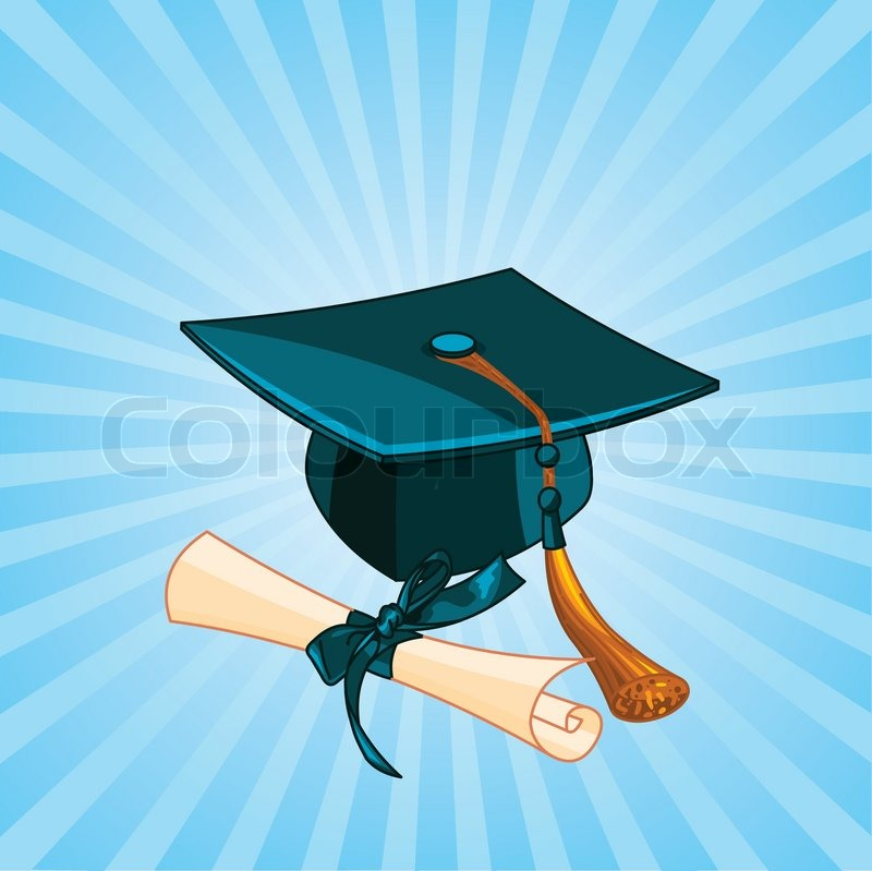 Radial Background With Graduation Cap And Diploma Stock