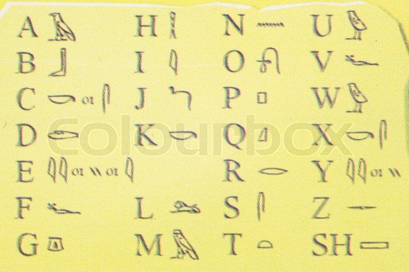 egypten alfabet under den gule baggrund stock foto colourbox. Black Bedroom Furniture Sets. Home Design Ideas