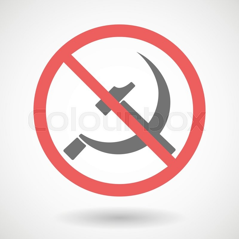 Forbidden Vector Signal With The Communist Symbol Stock Vector