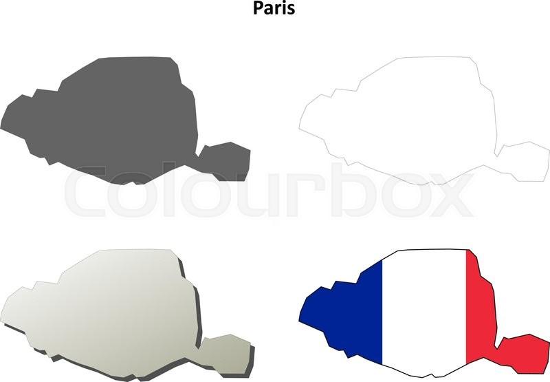 Paris IledeFrance Blank Detailed Outline Map Set Stock Vector - Paris map outline