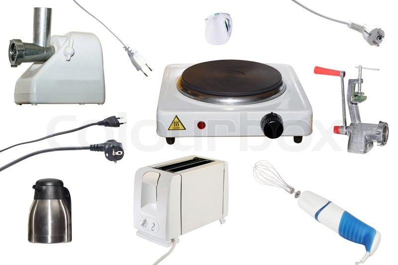 Different kind of kitchen equipment under the white background ...