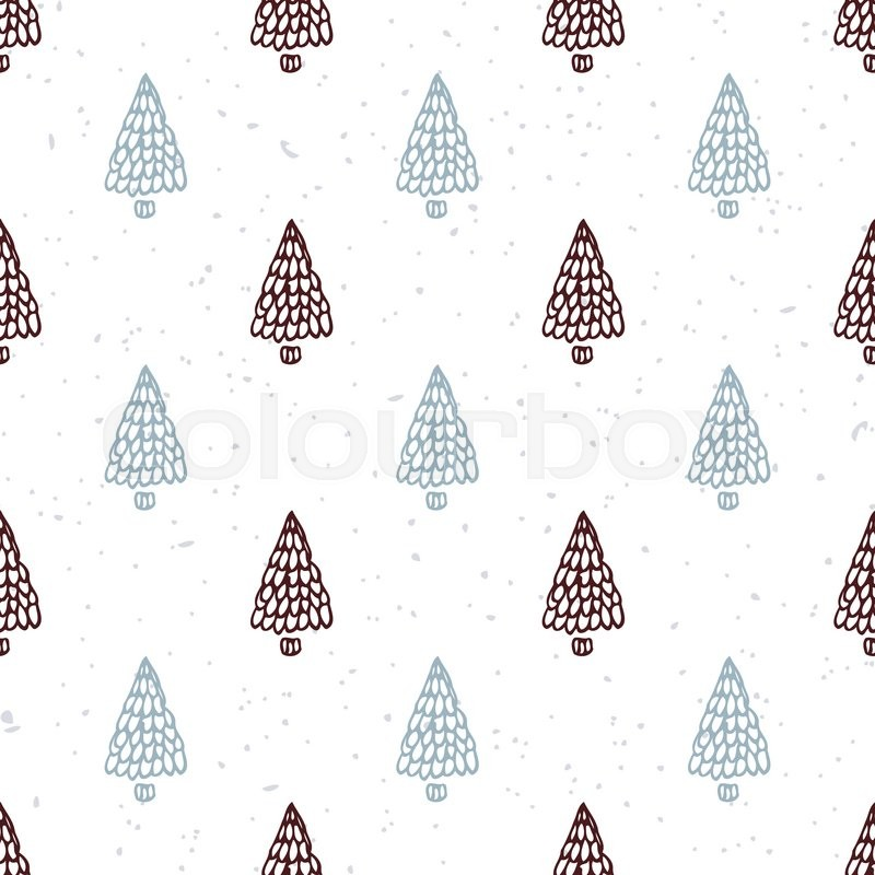 Seamless Pattern With Hand Drawn Christmas Tree Doodle Holiday Background Hipster Style Vector Illustration