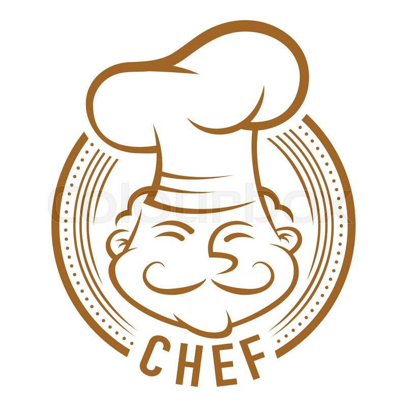 Chef With Mustache Symbol Line Art Vector Cartoon Stock Vector
