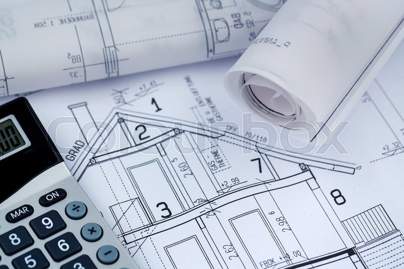 A blueprint of an architect with a calculator symbolic for Blueprint estimator