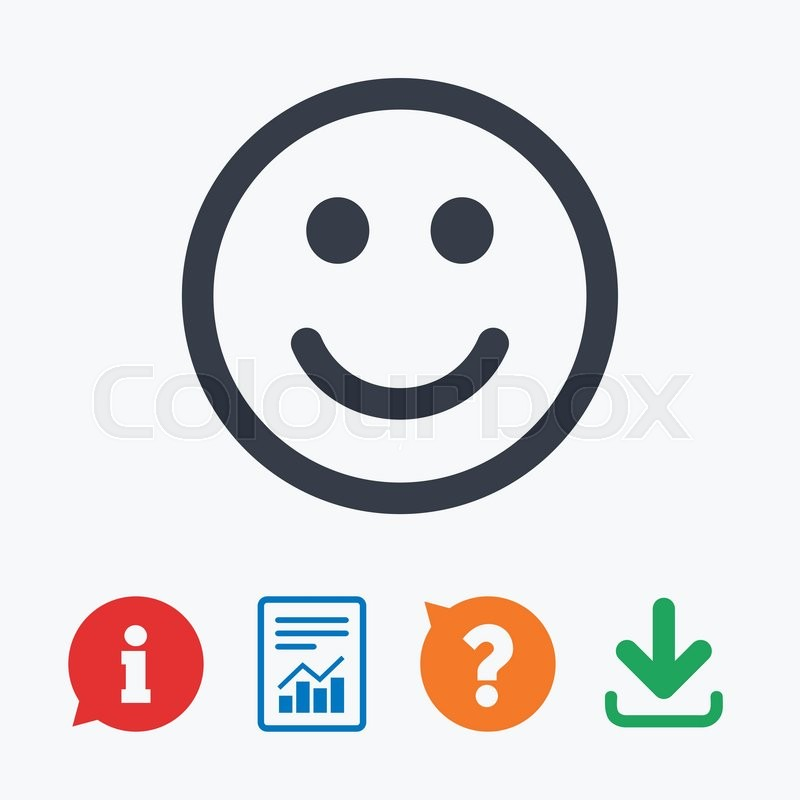 Smile Icon Happy Face Chat Symbol Information Think Bubble