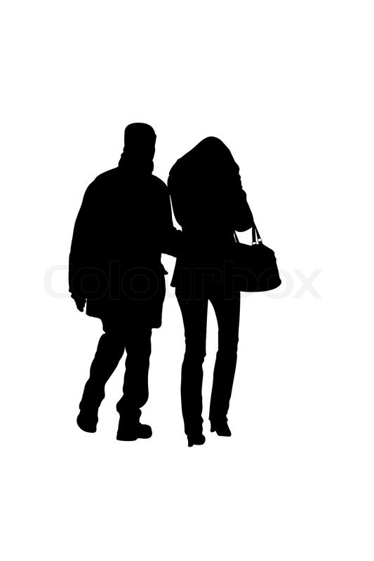 Silhouette Of Walking Couple Under The White Background