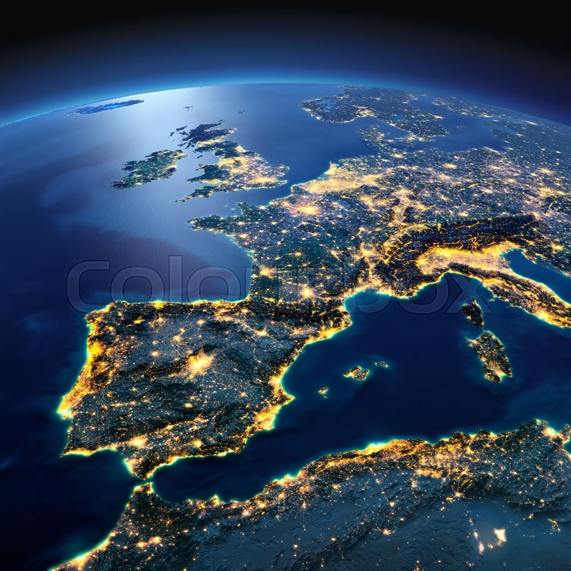 Night planet earth with precise detailed relief and city lights night planet earth with precise detailed relief and city lights illuminated by moonlight part of europe the mediterranean sea gumiabroncs Images