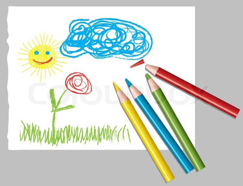 Vektor Blatt Papier mit Kinderzeichnung und Farbstifte ...