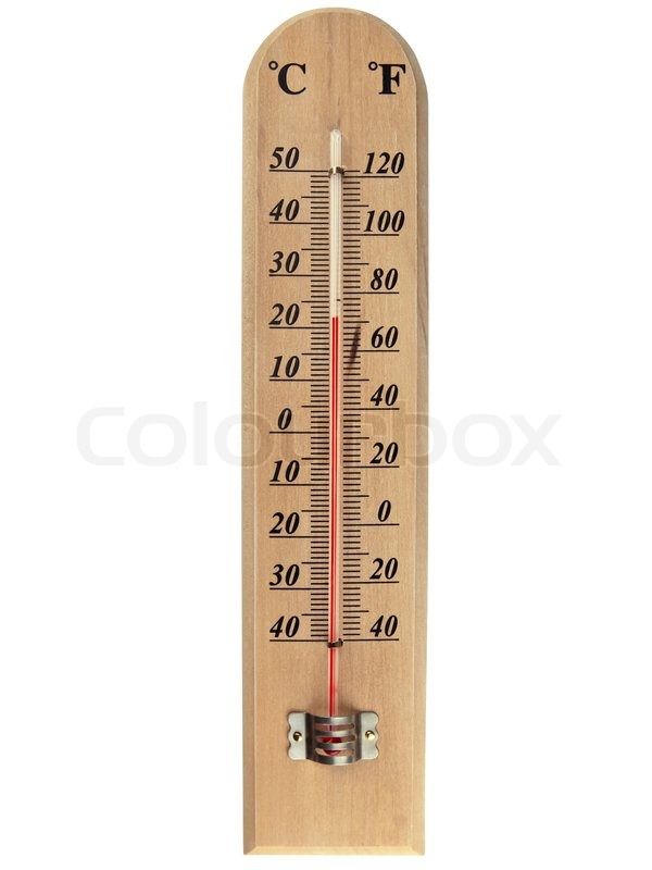 Wooden celsius fahrenheit thermometer over white | Stock ...