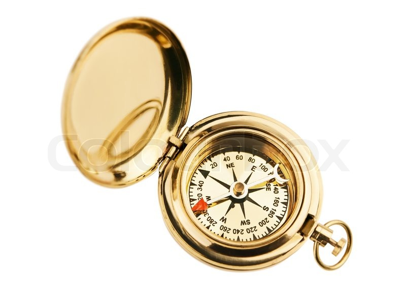 Old Vintage Compass Over The White Background