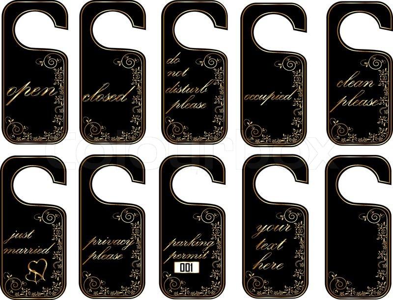 Stock vector of \u0027Vector door hang tags in black and golden style\u0027 & Vector door hang tags in black and golden style | Stock Vector ... Pezcame.Com
