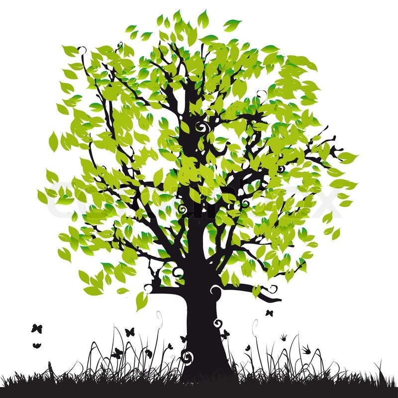 Tree Silhouette Old Grass Summer Stock Vector Colourbox