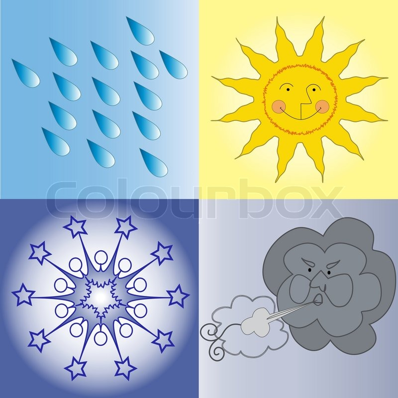 3811401f87 Stock vector of  Vector illustration of the weather icons. Four weather  conditions icon