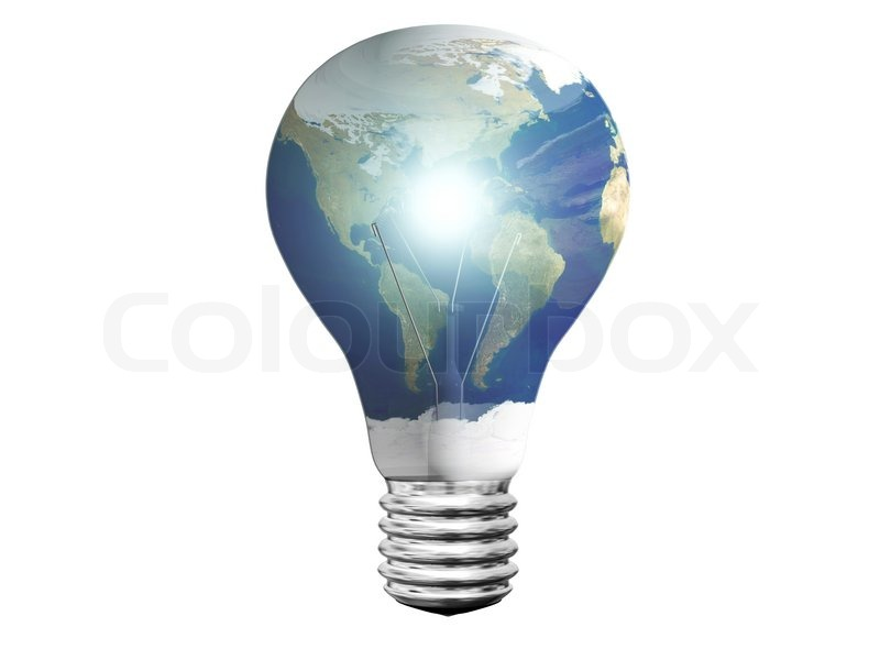 Stock image of 'Shining light bulb with planet earth map isolated on white'