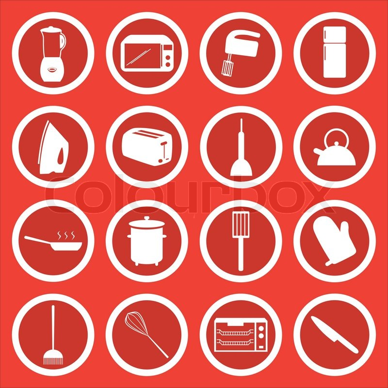 16 vector icons of common household and kitchen items