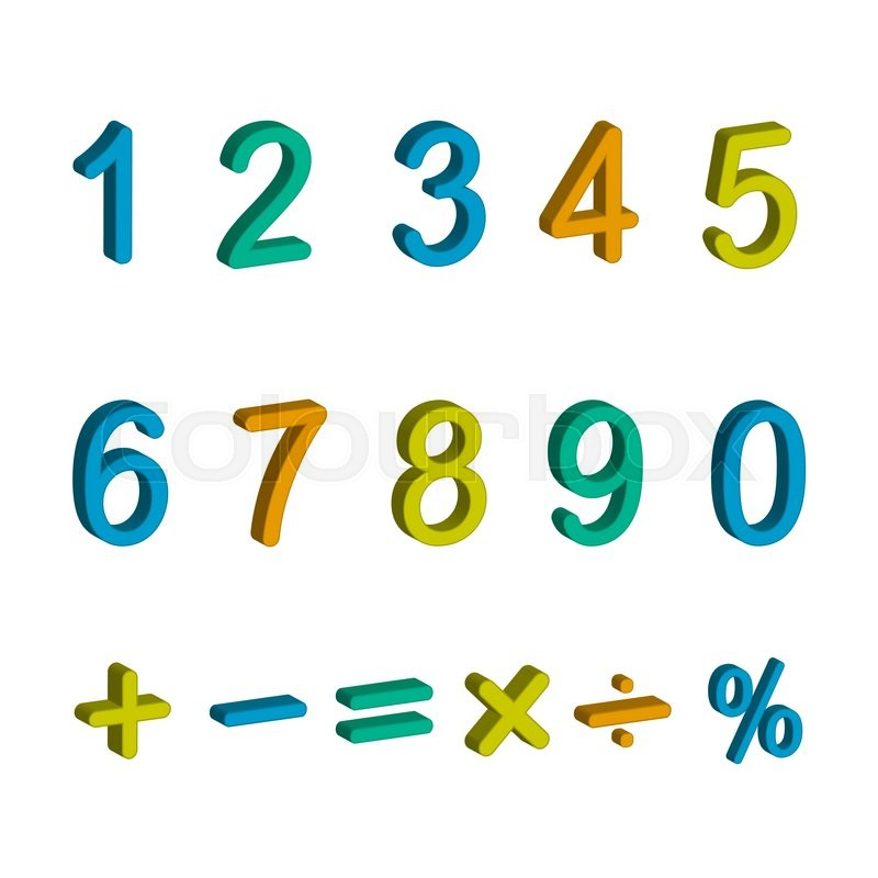 Illustration Of Numbers From Zero To Nine And Math Symbols Isolated