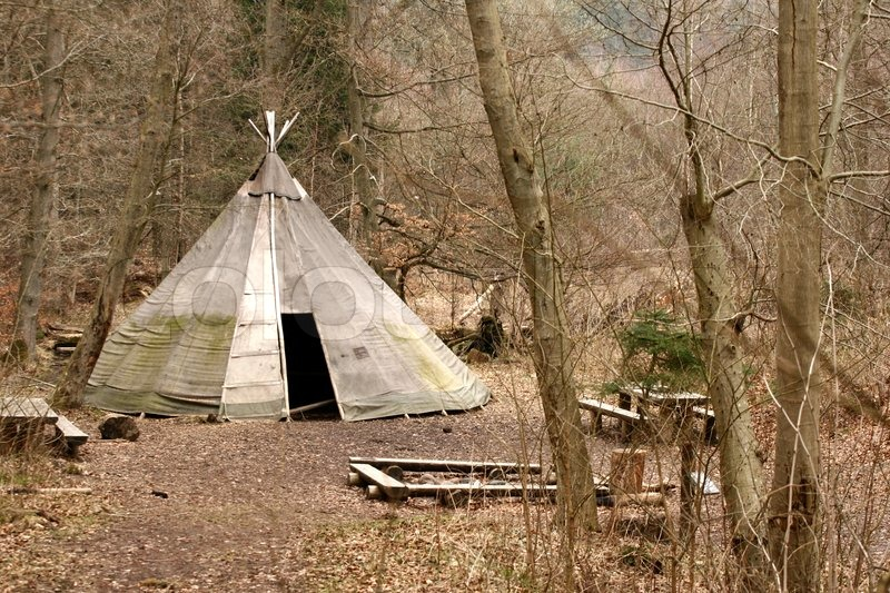 Indian tent in autumn in the countryside in a forest | Stock Photo | Colourbox & Indian tent in autumn in the countryside in a forest | Stock Photo ...