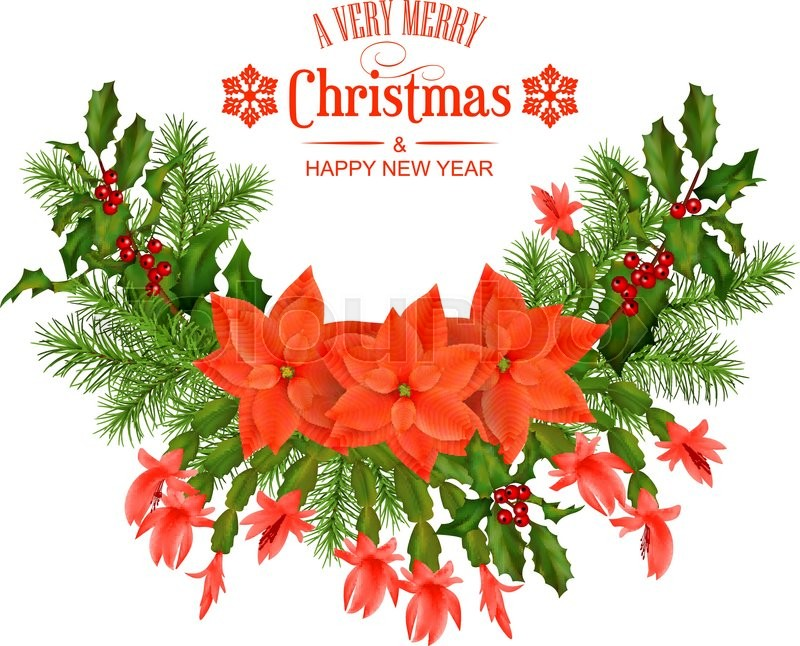 merry christmas vector greeting card holiday composition of the christmas decorations and text on white background stock vector colourbox
