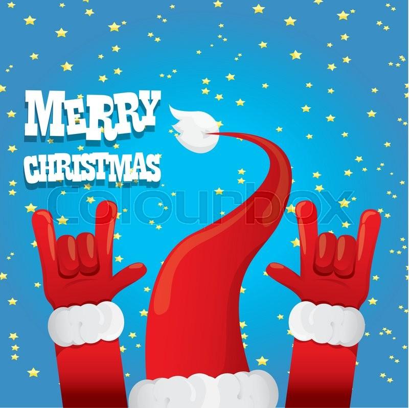 Santa Claus hand rock n roll icon vector illustration. Christmas ...