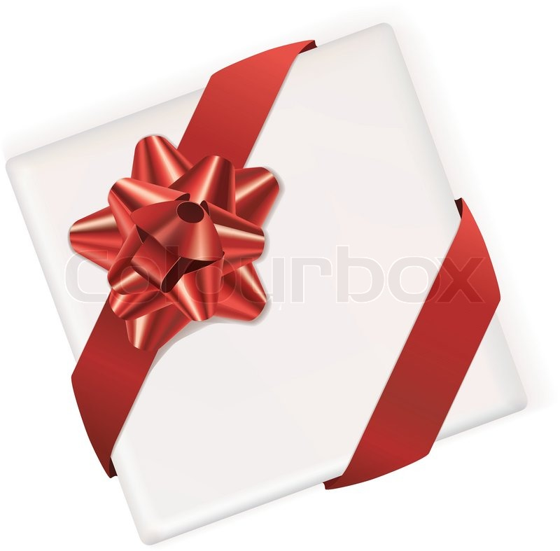 White vector gift box with bow and ribbon stock