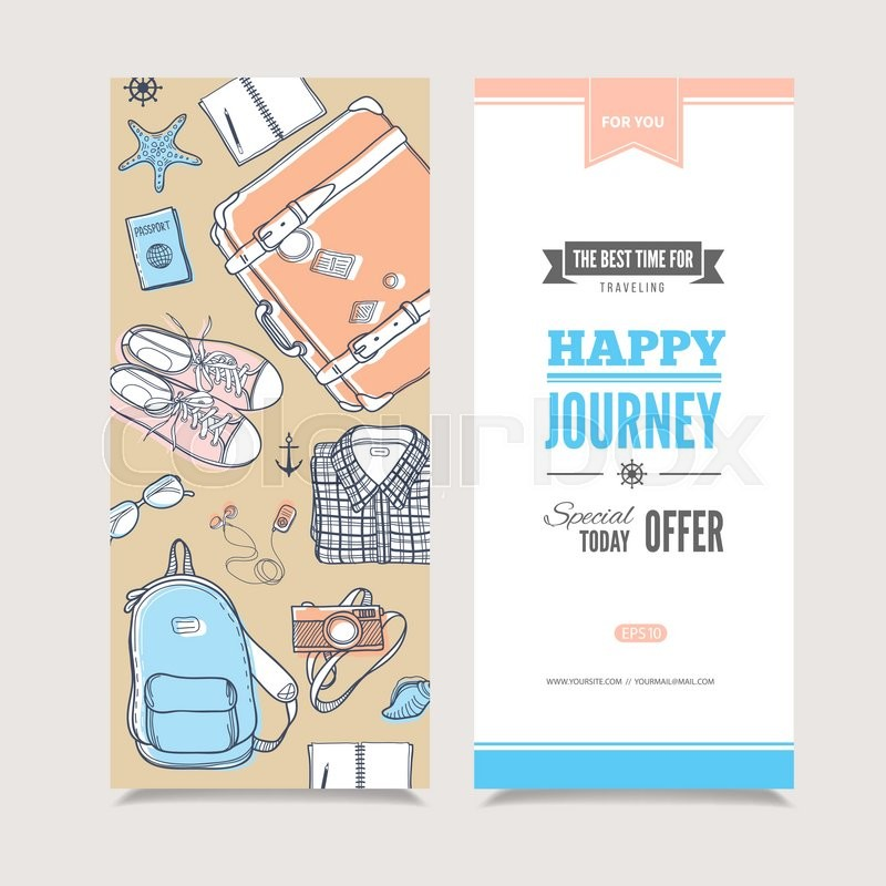 Vector template with suitcase backpacknotebook glasses sneakers perfect illustration for invitation or promotional events travel modern concept stock vector colourbox stopboris Choice Image