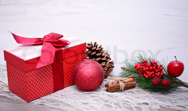 Christmas Presents and Ornaments on Wooden Background , stock photo