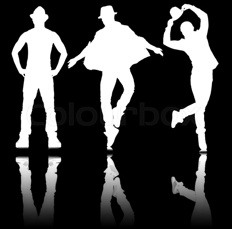 Silhouettes of dancers in dancing concept, stock photo