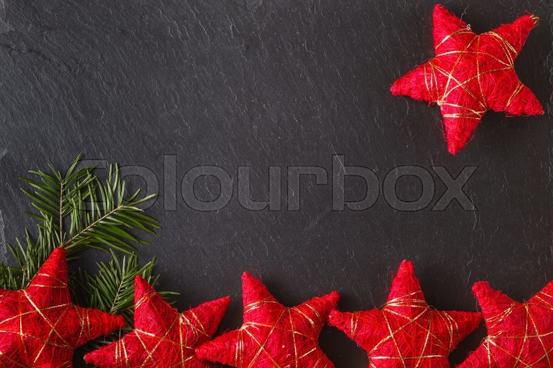 Place to write christmas wishes with frame from red stars, stock photo