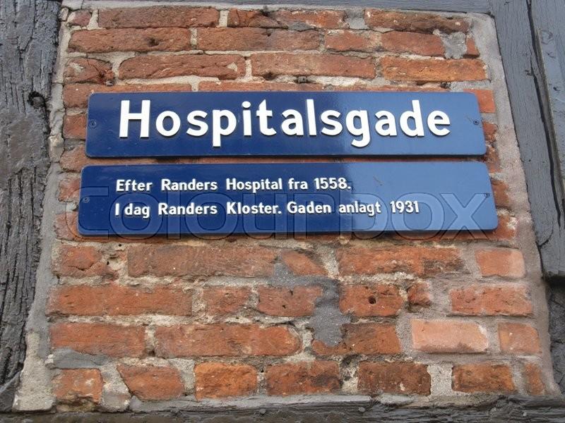 De gamle flotte bygninger i Randers. Hospitalsgade efter Randers Hospital fra 1588, i dag ...