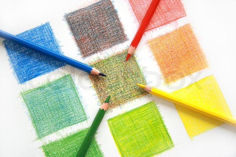 Color mix, pencils, stock photo