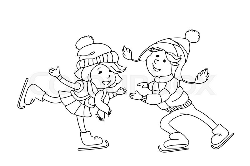 Boy And Girl Skating On Ice Outline Cartoon Character For