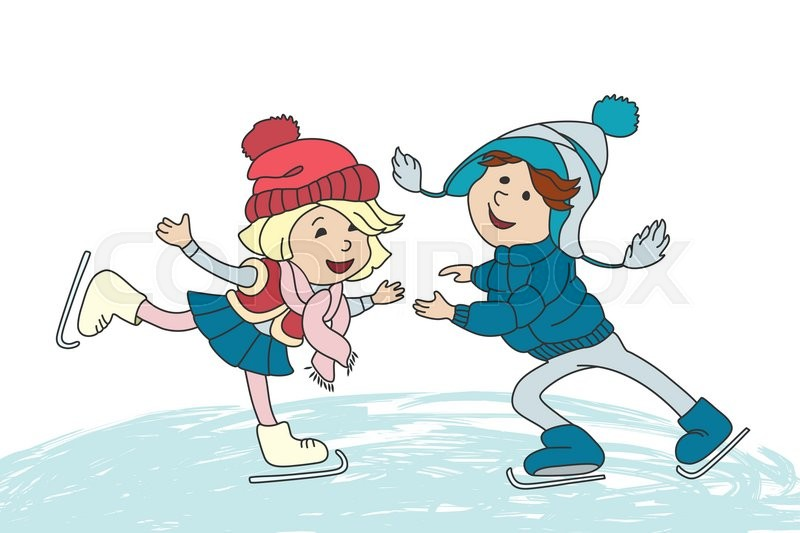 boy and girl skating on ice vector cartoon characters for greeting card  children book and ice skating clipart images black and white ice skating clipart images black and white