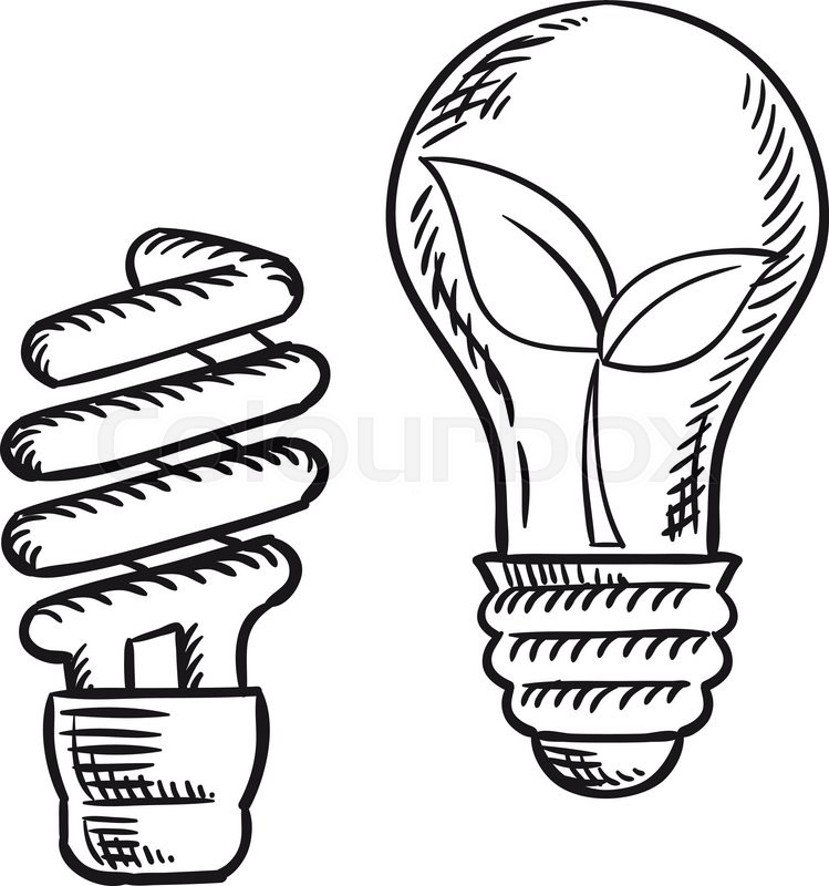 sketch of fluorescent energy saving light bulb and old