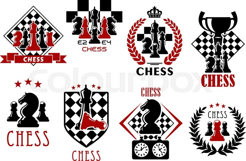 Chess Game Heraldic Symbols Of Chessboards With Pieces Of Kings