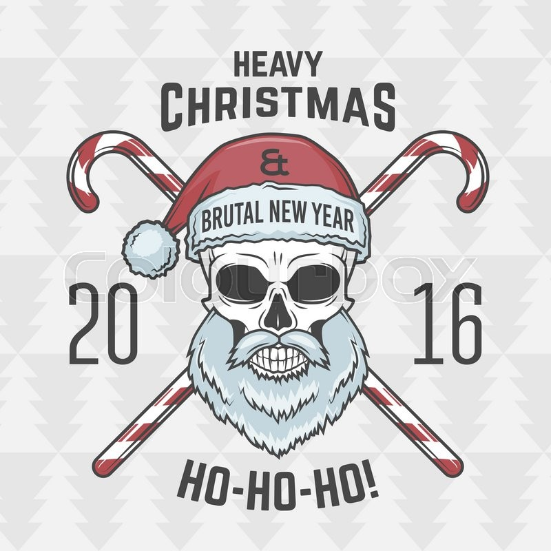 vintage heavy metal christmas portrait rock and roll 2016 new year t shirt illustration stock vector colourbox - Heavy Metal Christmas