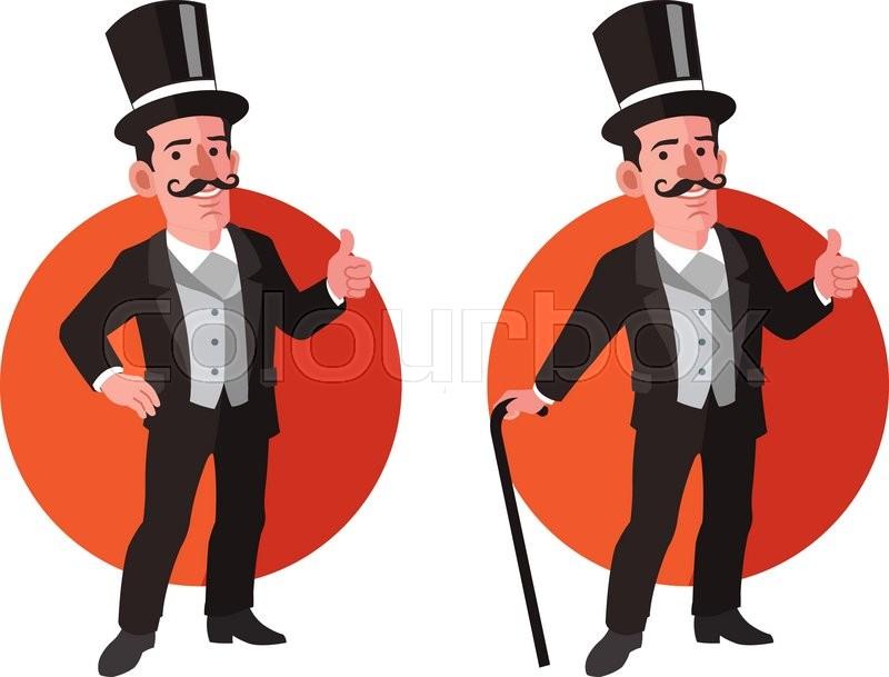 vector illustration of gentleman wearing tuxedo and carrying walking
