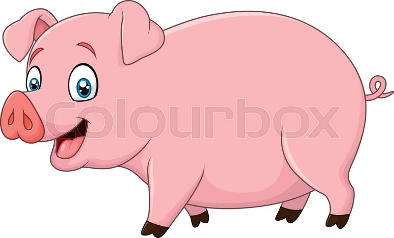 vector illustration of cartoon happy pig isolated on white Cute Cartoon to Draw Animals Funny Cute Cartoon Animals