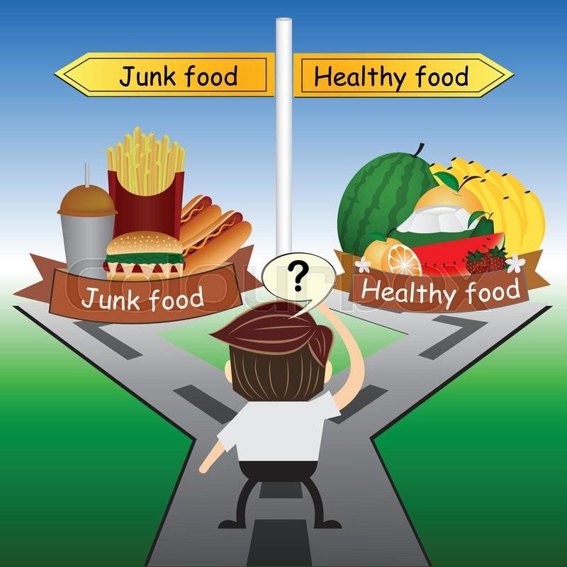 metaphor humour design choose between healthy food and