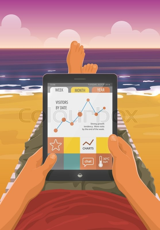 Freelancer with a tablet pc working while lying on a sandy beach in freelancer with a tablet pc working while lying on a sandy beach in the sunset eps10 vector cartoon illustration first person view voltagebd Choice Image