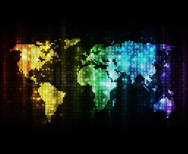 Glowing world map with light effects on dark background eps10 glowing world map with light effects on dark background eps10 vector image stock vector colourbox gumiabroncs Image collections