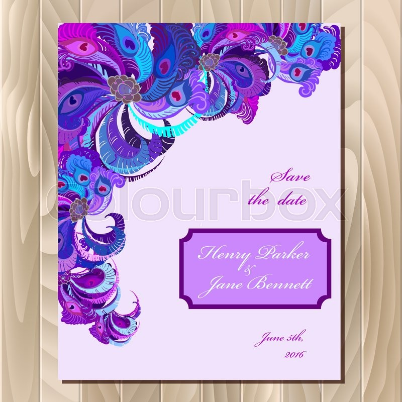 Wedding Card With Peacock Feathers Printable Abstract