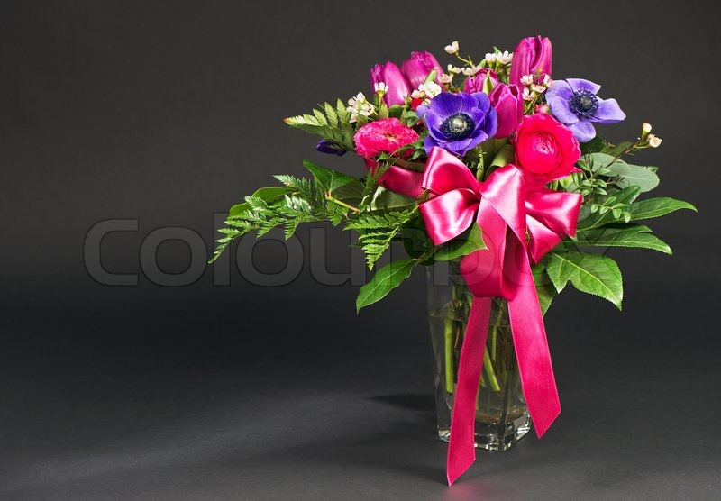 Flowers bouquet on black background | Stock Photo | Colourbox