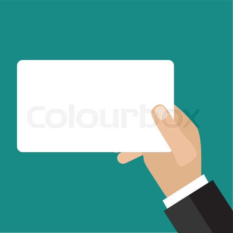 Hand holding business card. Flat icon modern design style vector ...
