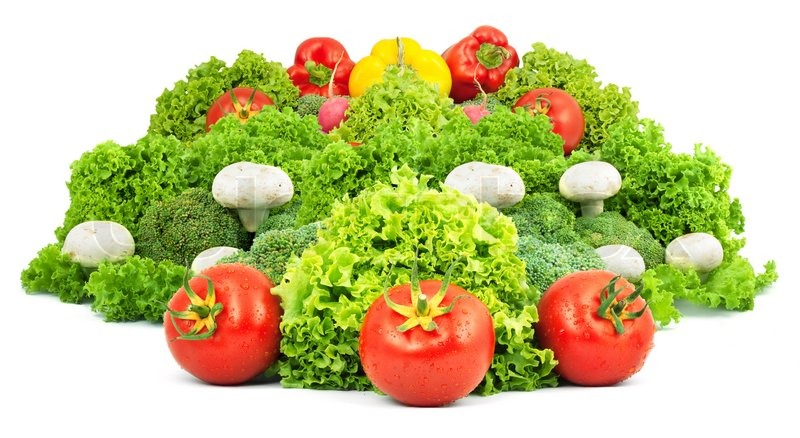 Stock image of 'Assorted fresh vegetables isolated on white background'
