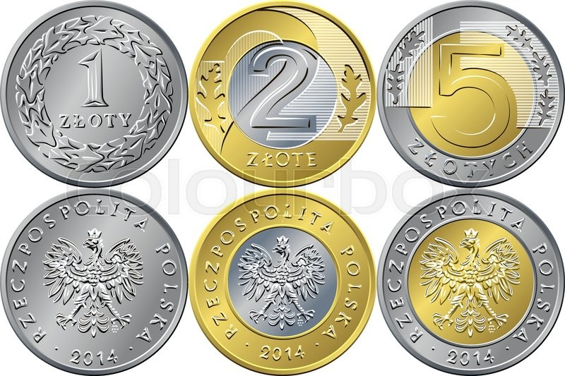 Vector Reverse And Obverse Polish Money One Two And Five Zloty Gold