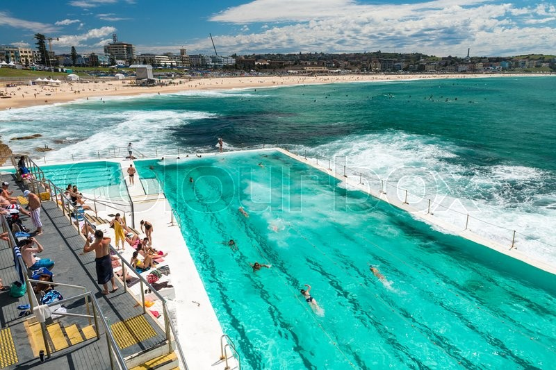 Beach Scene Rock Swimming Pools Overlooking Tasman Sea In Bondi Sydney Australia Stock