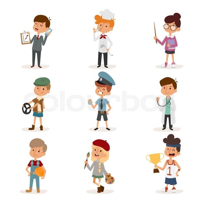 Set Of Cute Cartoon Professions Kids. ...