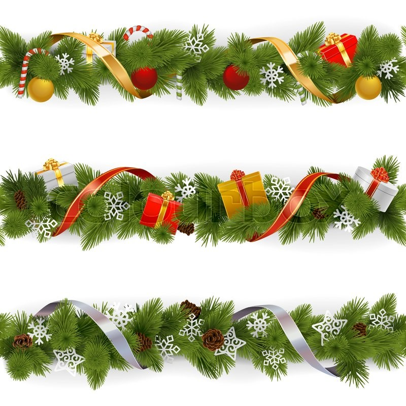 Vector Christmas Border Set 3 isolated